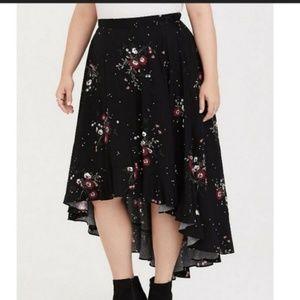 Torrid Hi Lo Floral Ruffle Maxi Skirt 4X